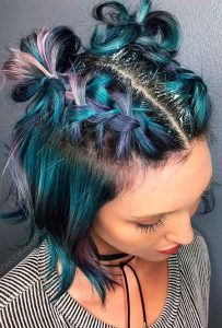Colorful Space Bun with Sprinkled Glitters