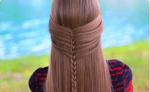 Hair water fall with braided rings