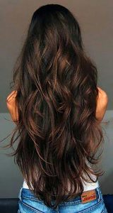 Long brown locks, a perfect waterfall hairstyle