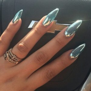 Pointed Jewel-Toned Blue Nails