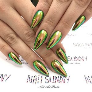 Witchy Holographic Green Pointed Nails