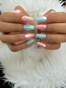 Cotton Candy Pink and Blue Nails