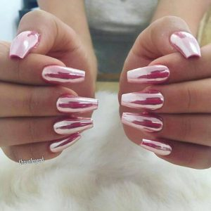 Square Pink Holographic Chrome Nails