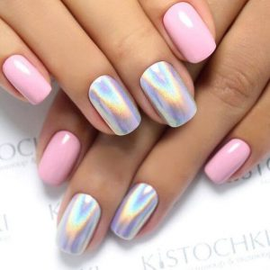 Baby Pink Nails Accented with White Powder