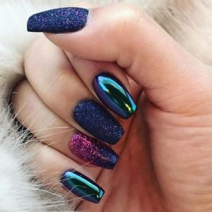 Galaxy-Inspired Purple and Pink Glitter Nails
