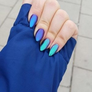 Blue and Purple Duochrome Nails