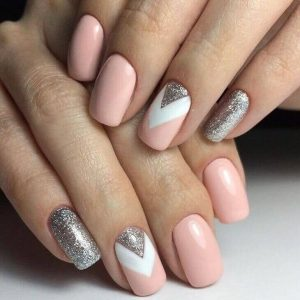 Chevron Silver, White, And Pink Manicure
