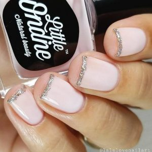 French Manicure With A Glitter Twist