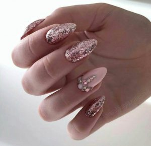 Heavily Glittered Nails With Rhinestone Accents