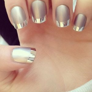 Gold French Tip Acrylic Nails