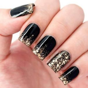 Unique Onyx with Gold Glitter Nails