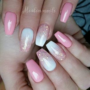 Pink Bubblegum and Gold Speckles Acrylic Nails