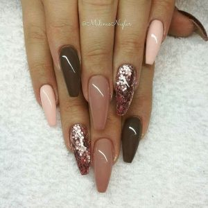 Coffee Cream and Glitter Long Acrylic Nails