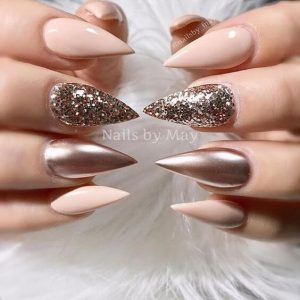 Sparkles with Gold and Creme Pointed Nails