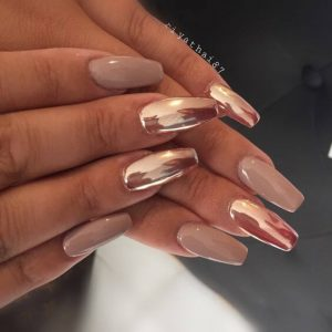 Easy Bronze and Beige Nails