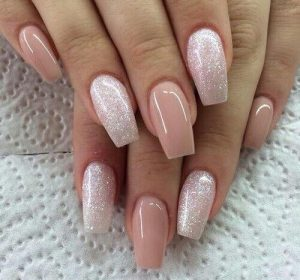 Pink and Glitter Long False Nails