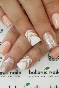 Gold and Pink and Glitter Acrylic Nails
