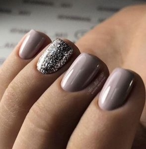 Short Almond Acrylic Nails with Sparkles