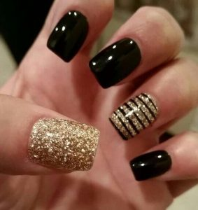 Chocolate and Gold Sparkle Acrylic Variation