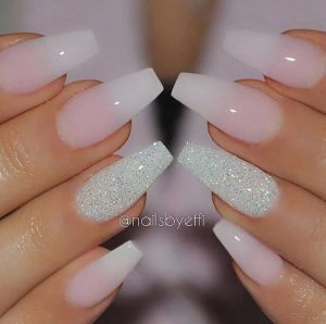 Long Nails with Silver Glitter