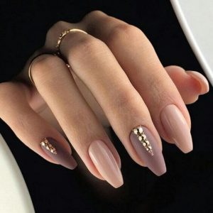 Almond Acrylic Nails with Gold and Pink