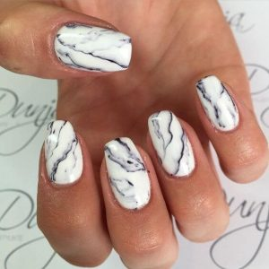 White Marble Nail Art Design