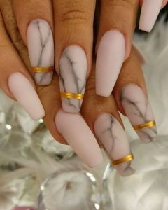 Pink Marble with Gold Stripes Acrylic Nails