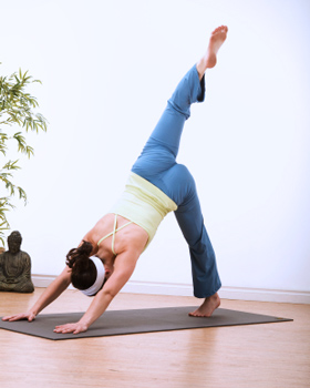 Downward Dog Split to Elbow Knee Hold