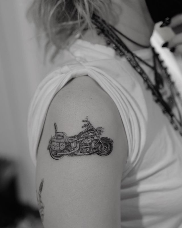 Motorcycle Tattoo. Miley Cyrus Tattoos Meaning