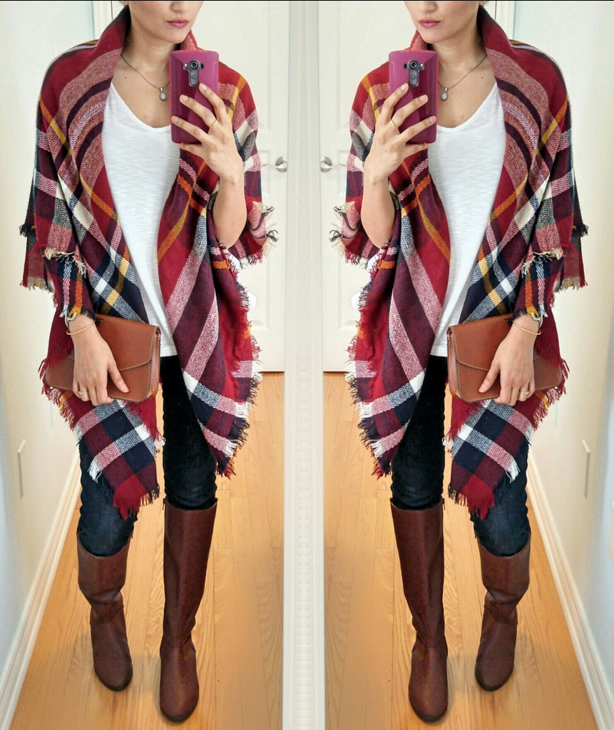 Blanket Scarf Worn as a Shirt. Best Way to Tie a Blanket Scarf