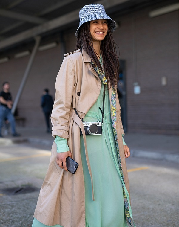 Ground Playful Prints with Classic Pieces. Bucket Hat Costume Ideas