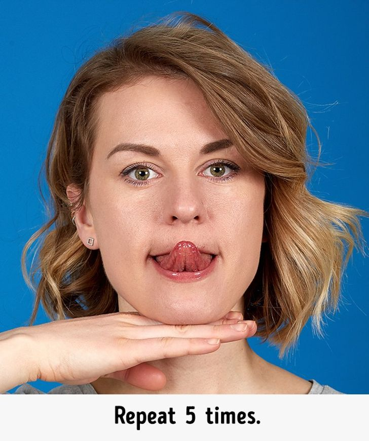 Stress Your Tongue. Get Rid of Double Chin Exercises
