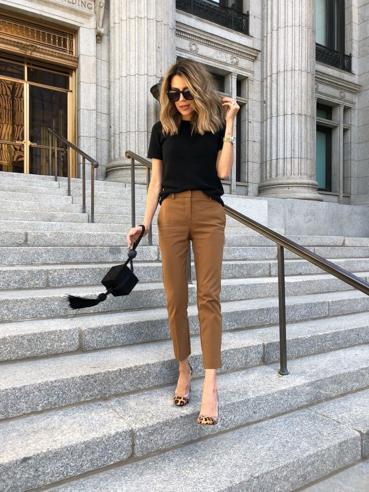 Strong Top, Khakis, and Pointy-Toed Shoes. Office Outfit Ideas for Women