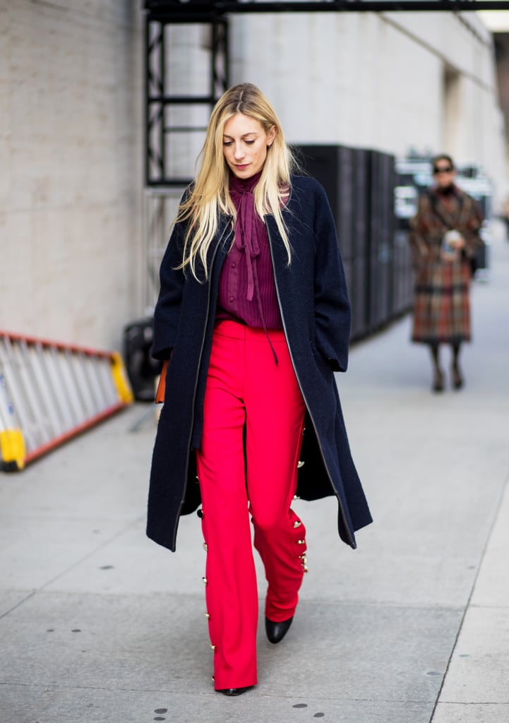 Trench, Bright Trousers, and Embellished Heels. Office Outfit Ideas for Women