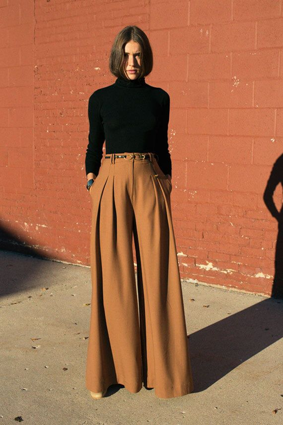 Turtleneck and Wide-Leg Trousers. Office Outfit Ideas for Women